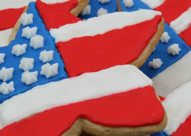 star-shaped sugar cookies frosted to look like American flags