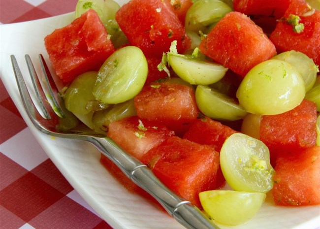 Watermelon Salad with Grapes and Citrus
