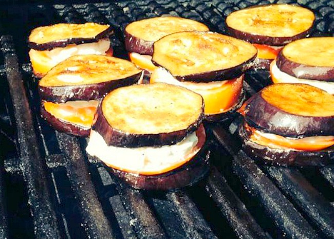 editedGrilled Eggplant, Tomato and Goat Cheese