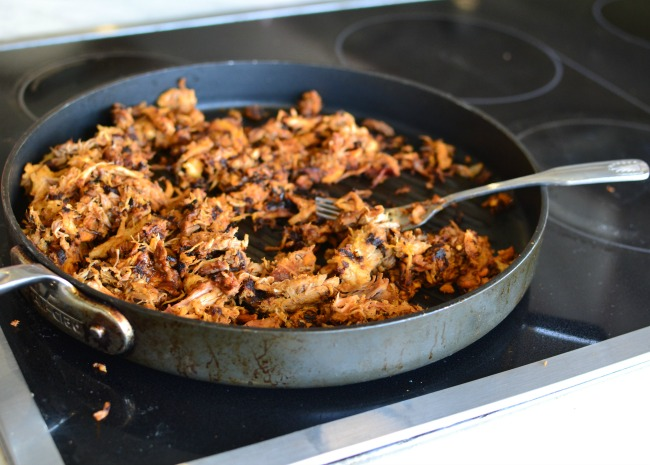 warming the pulled pork on grill pan photo by Laura Fakhry