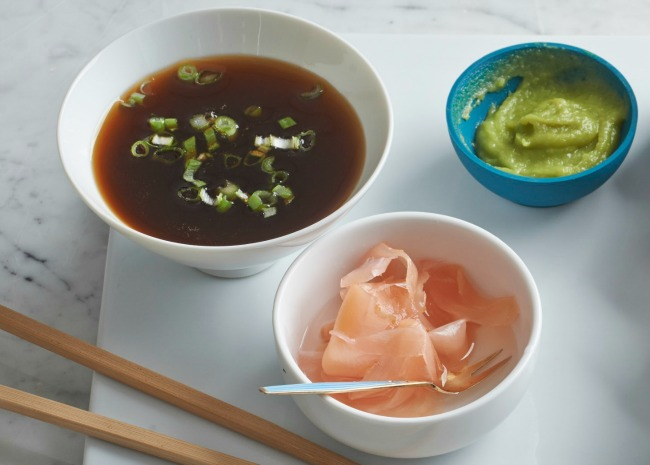 Soy sauce, pickled ginger, and wasabi paste