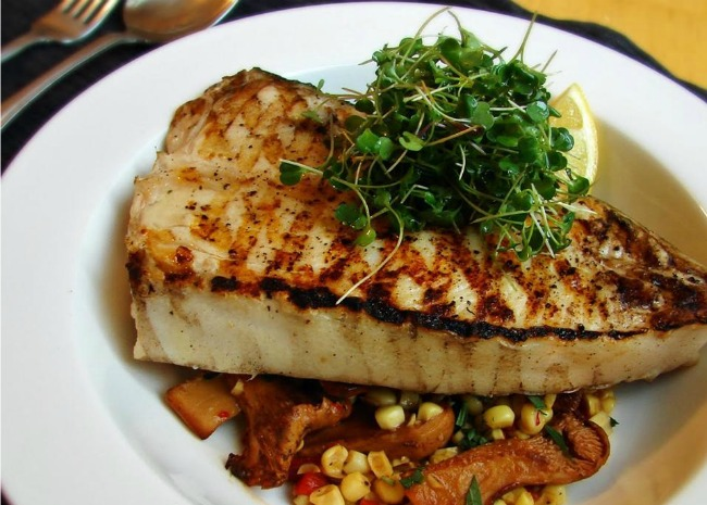 Grilled Halibut Steaks with Corn and Chanterelle