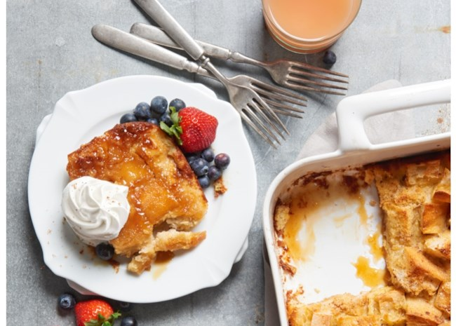 French toast casserole on a plate and in the pan.