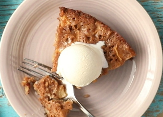 Skillet Apple Brownie topped with ice cream