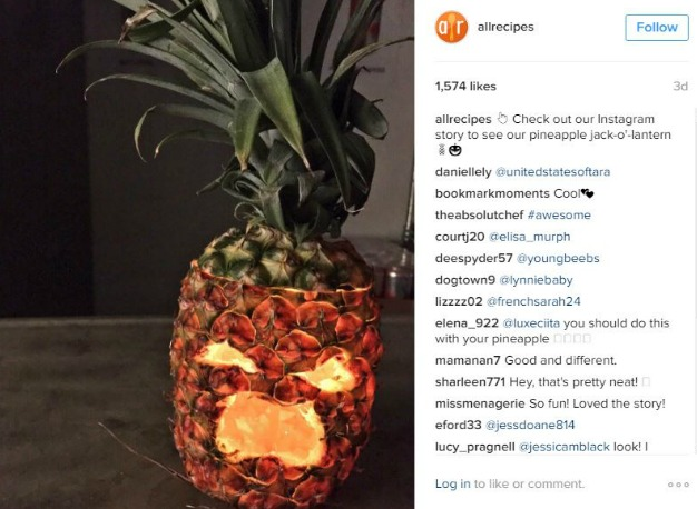 edited instagram image of pineapple carving