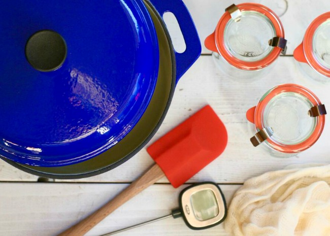 Pot, jars, cheesecloth, thermometer, and spatula
