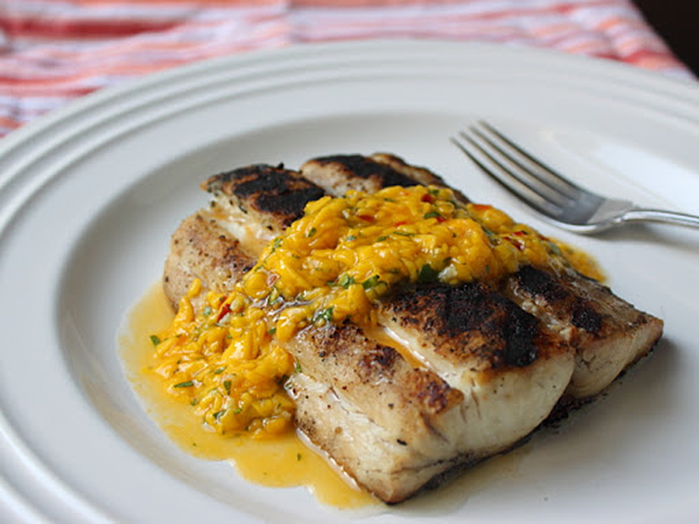 Grilled Mahi-Mahi With Spicy Mango Sauce Photo by Chef John