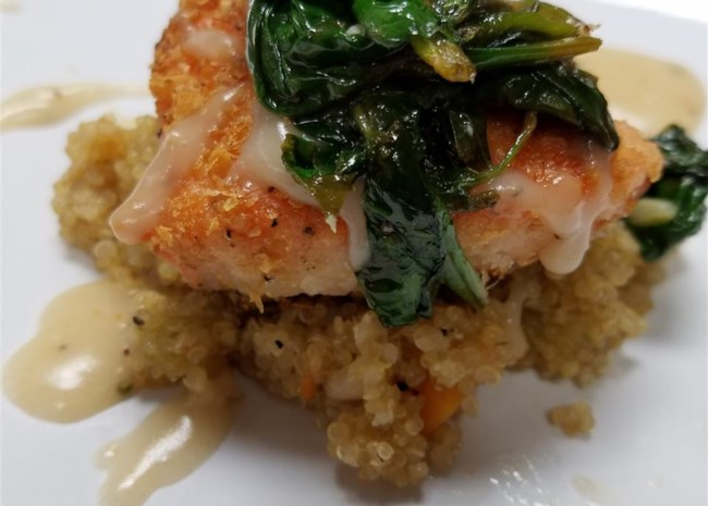 Roasted Salmon with White Wine Sauce
