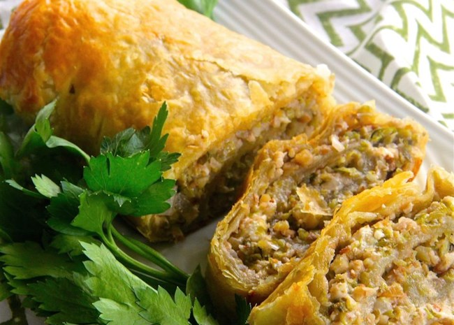 Brussels Sprouts and Feta Pastry Roll