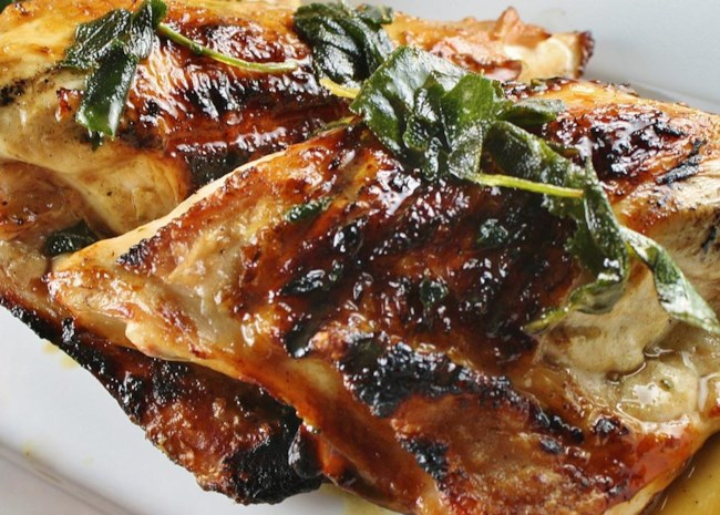 Grilled Turkey Breast with Fresh Sage Leaves