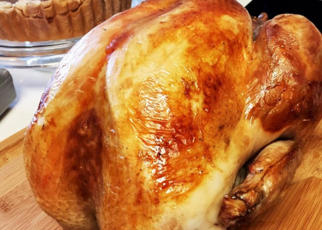 closeup of a golden brown roast turkey