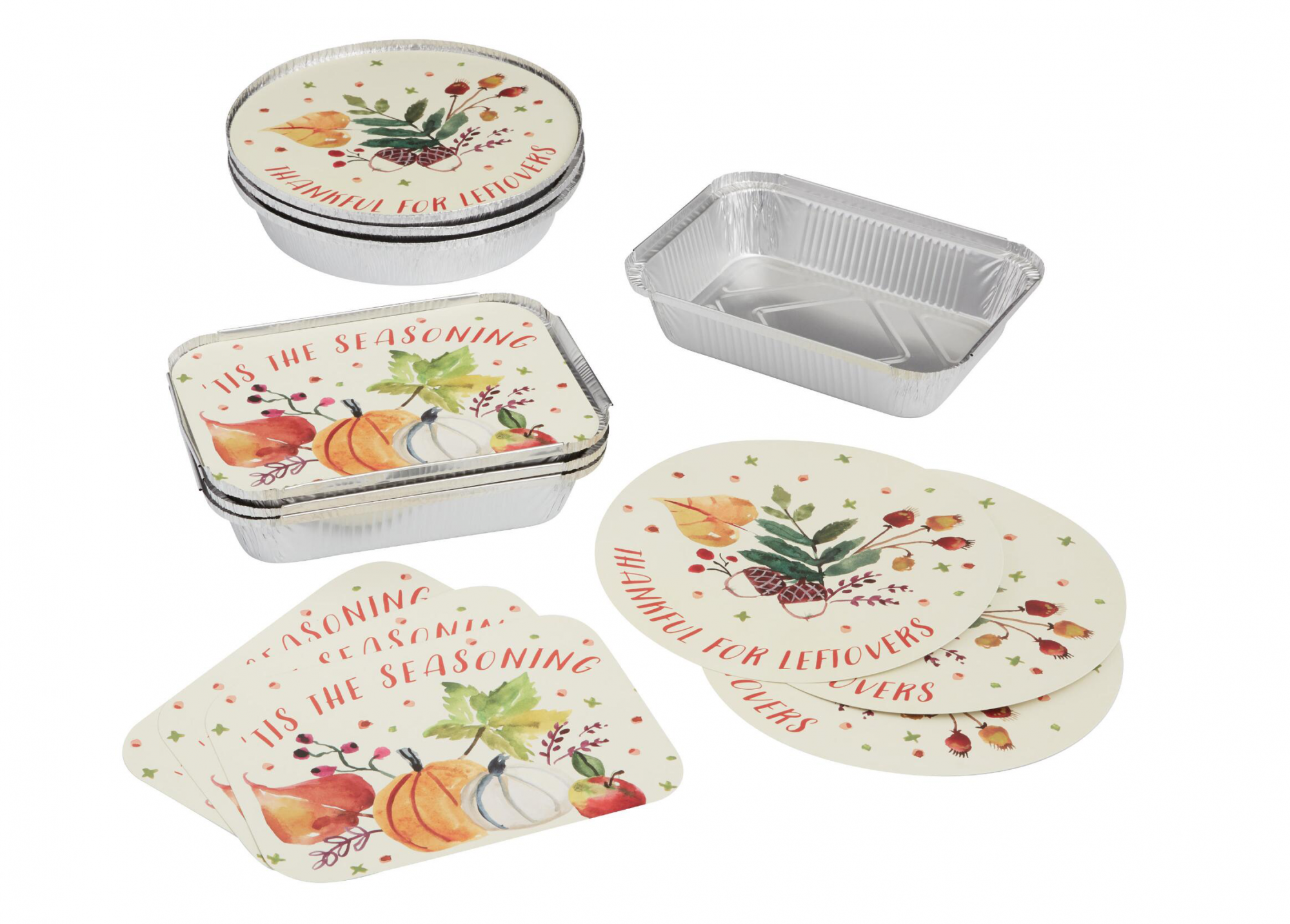 4 Pack Thanksgiving Bake Away Pans with Lids