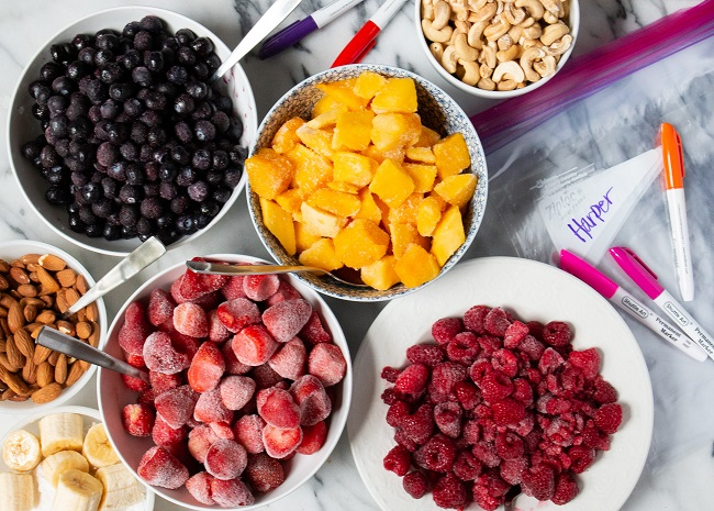 Prepped ingredients for smoothies