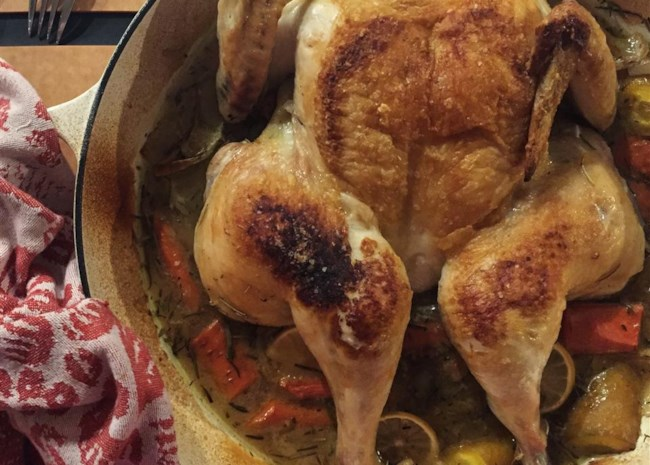 Braise-Roasted Chicken with Lemon and Carrots