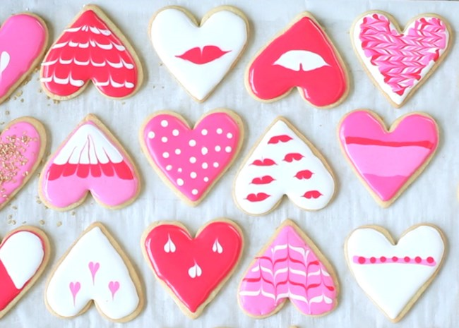 Heart Cookies Decorated with Royal Icing