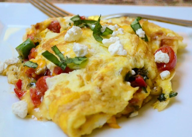 Greek Omelet with Asparagus and Feta Cheese