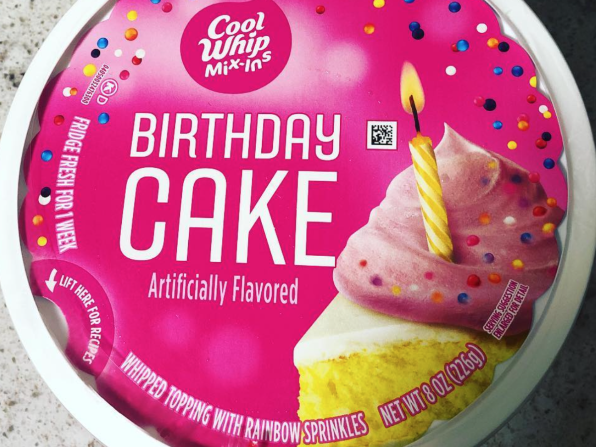 container of Birthday cake cool whip