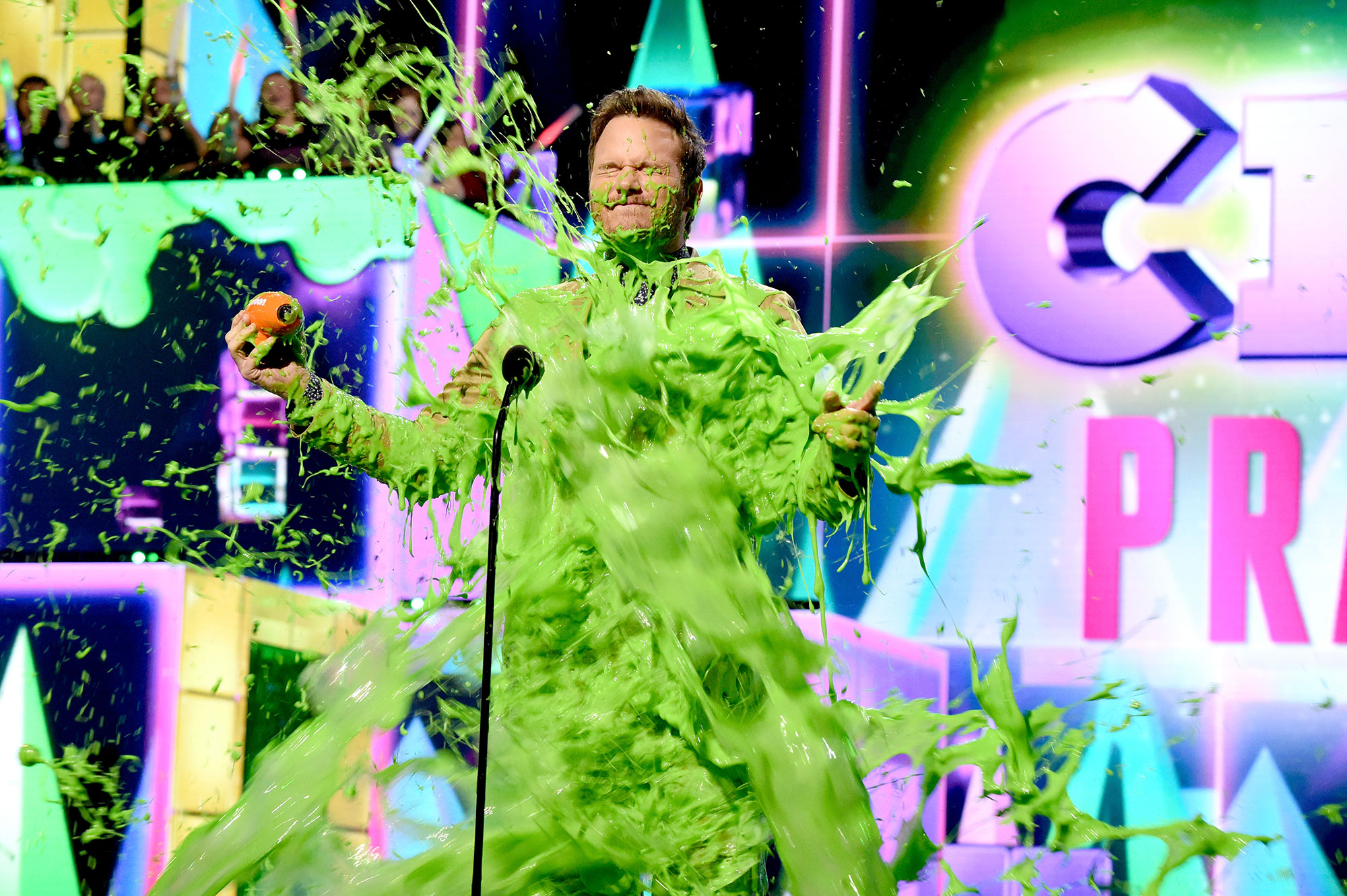 chris pratt covered in green slime