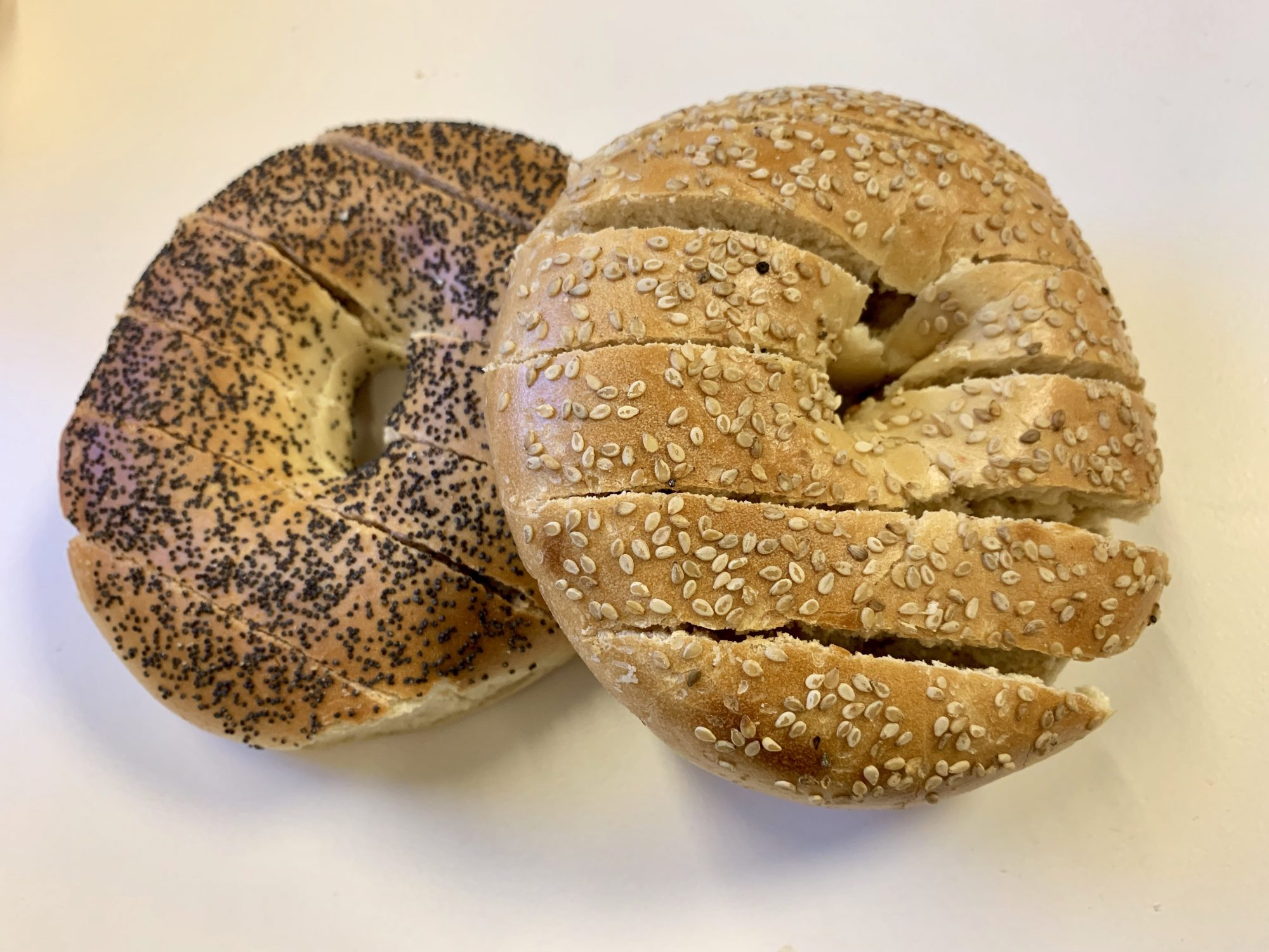 bread sliced bagels