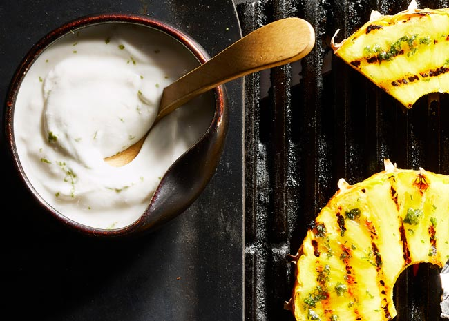 Grilled Pineapple Dessert with Greek Yogurt