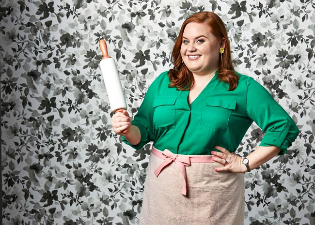 elise mayfield with rolling pin