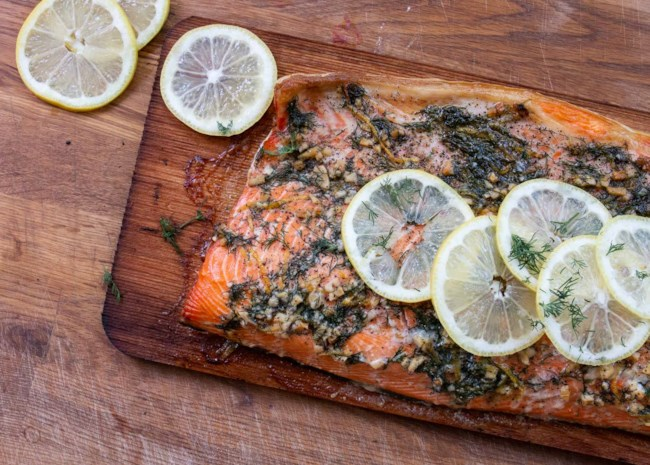 Cedar Plank-Grilled Salmon with Garlic, Lemon, and Dill