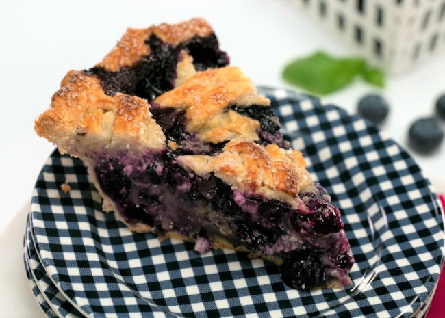 Blueberry, Goat Cheese, and Basil Pie