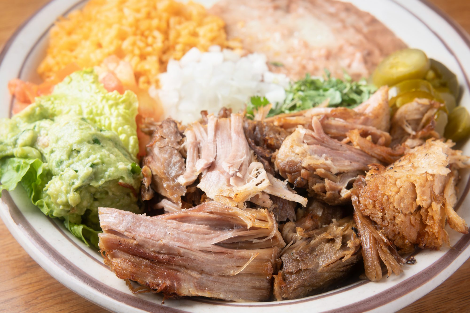 Carnitas with Guacamole and Refried Beans