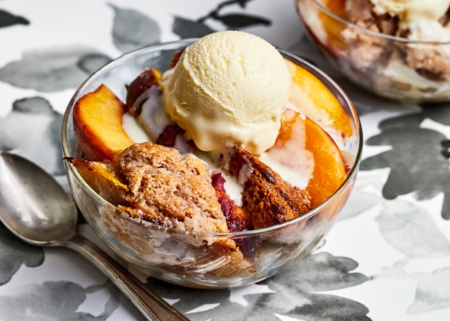peach cobbler with buttermilk ice cream