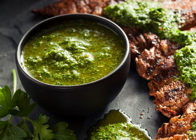 Chimichurri Sauce with Sliced Steak