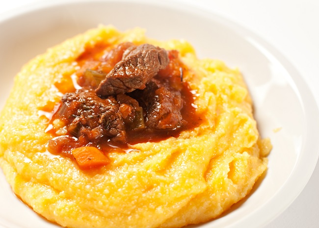 Creamy Polenta with Beef and Red Sauce