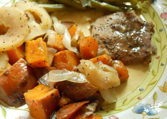 pork chops with apples onions and sweet potatoes