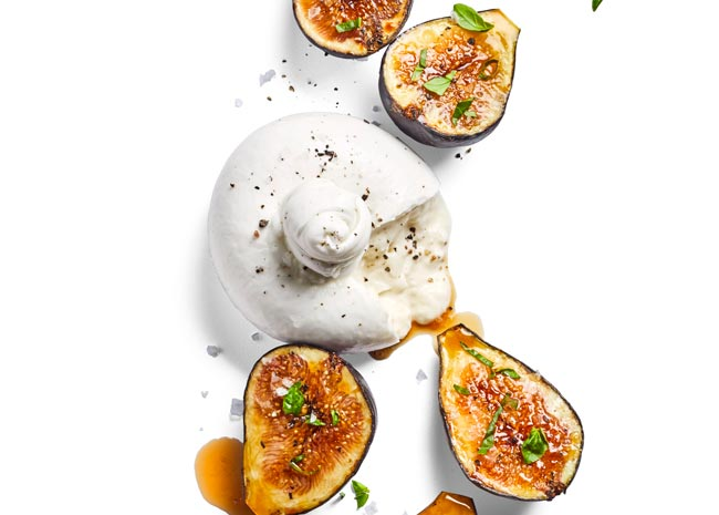fig appetizer with burrata cheese
