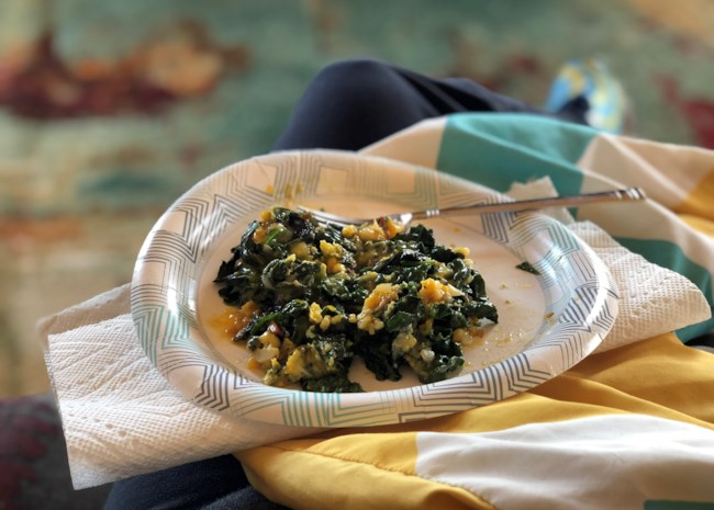 Eggs and Greens Breakfast Dish