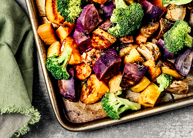 pan of roasted vegetables