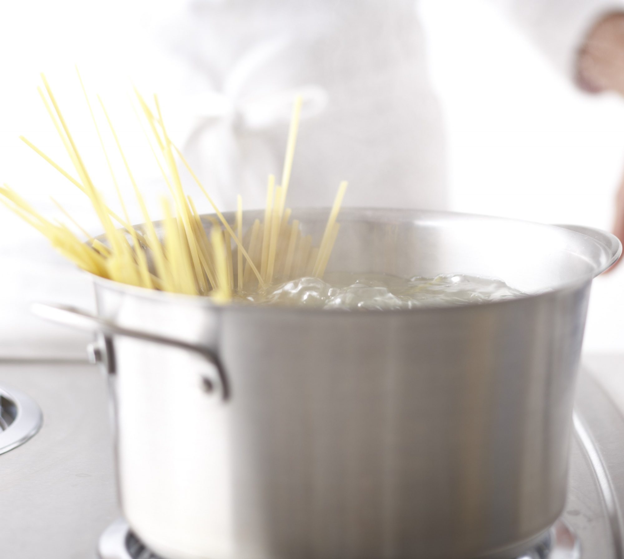 Pasta in rolling boiling water