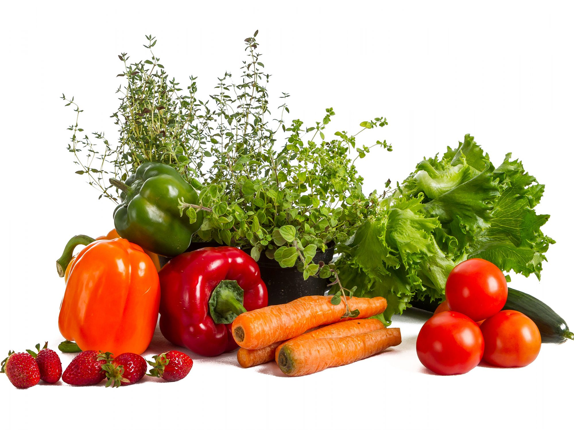 Fruits and vegetables white background