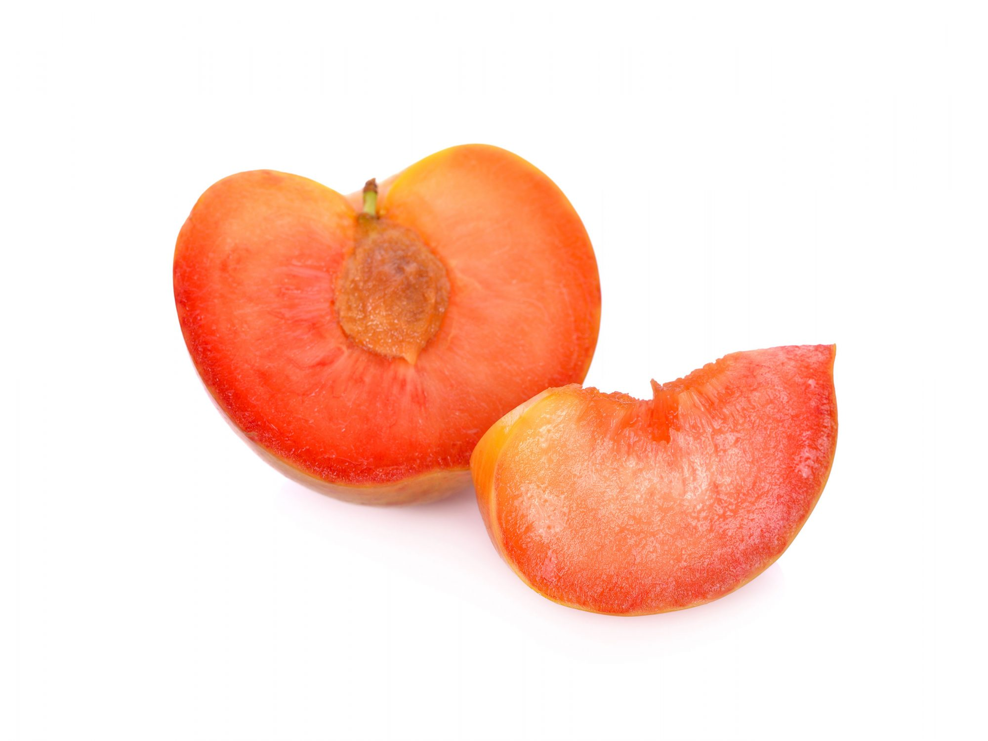 Pluots on white background