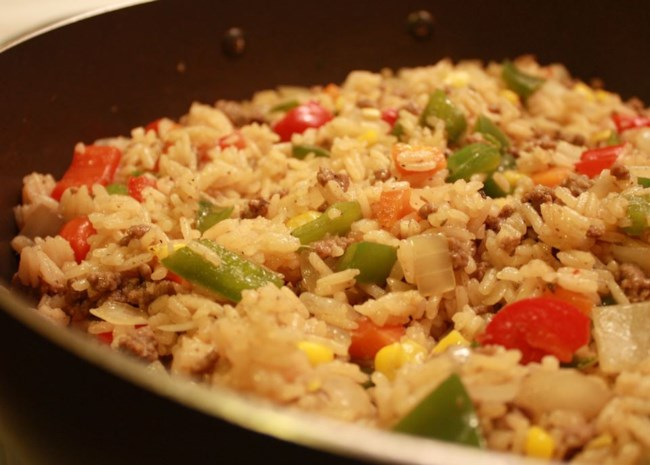 Ann's Dirty Rice in skillet