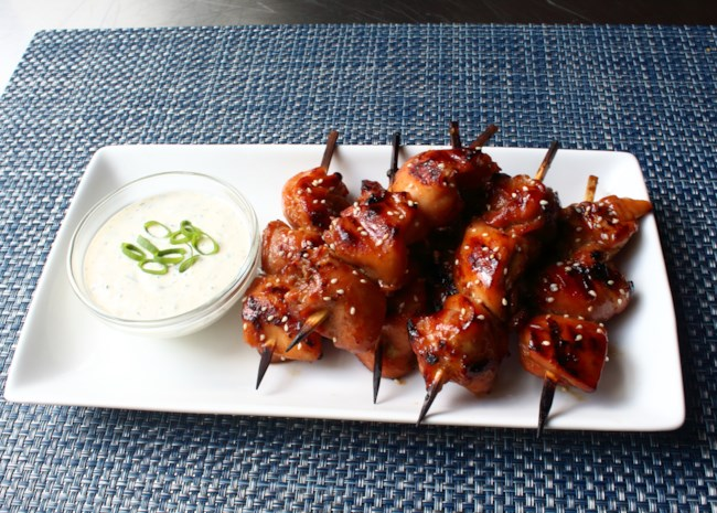 Grilled Chicken Teriyaki Skewers with Miso Ranch