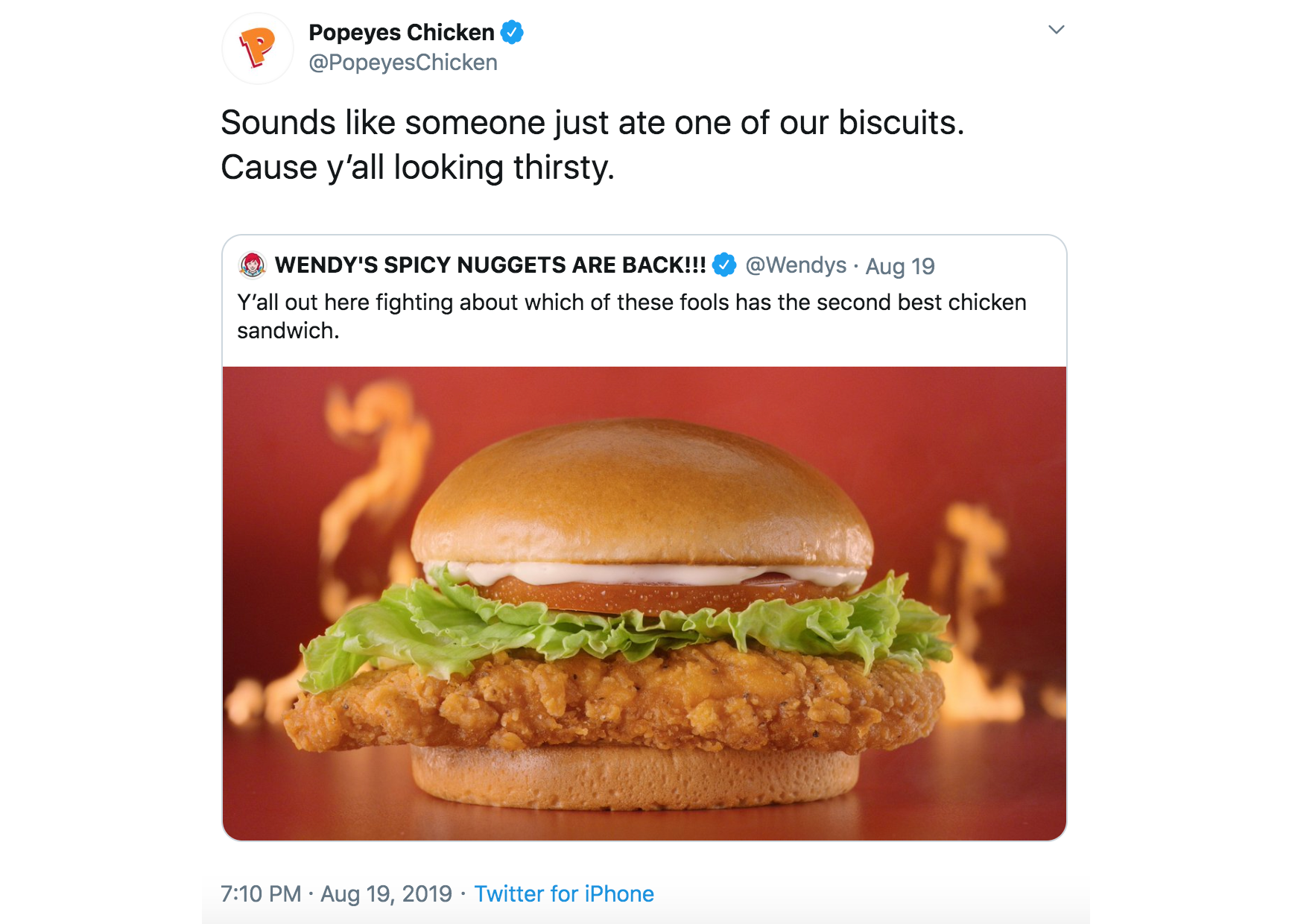 Wendy's Popeyes Chicken Twitter War