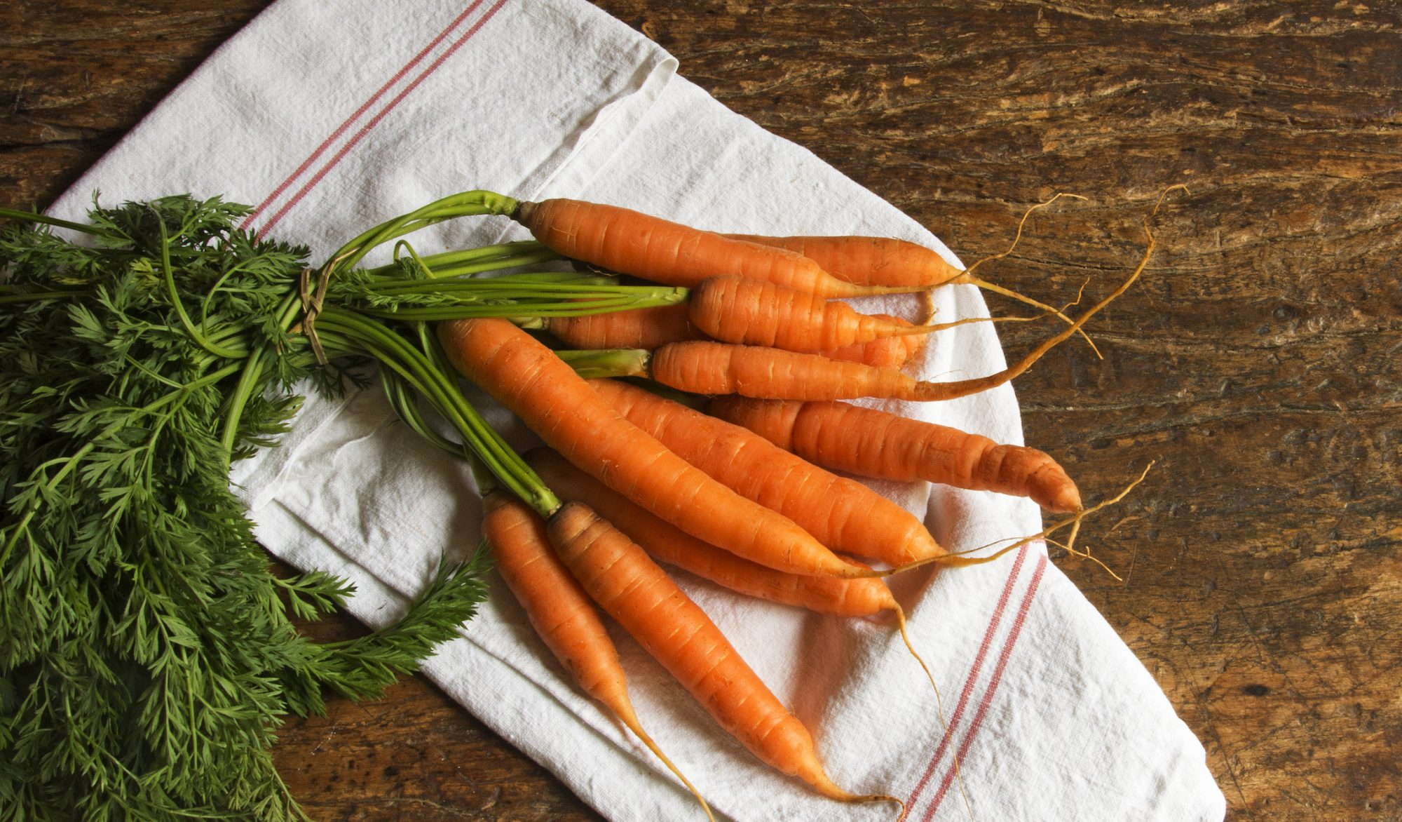 Bunch of organic carrots on a dishcloth