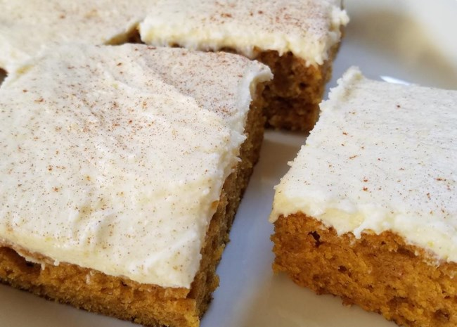 Pumpkin Bars with Cheesecake Frosting