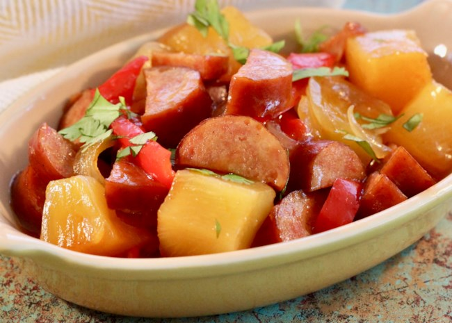 Slow Cooker Sweet and Sour Kielbasa with Pineapple