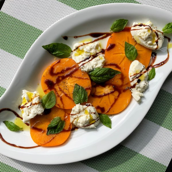 Fuyu Persimmon and Burrata Caprese Salad