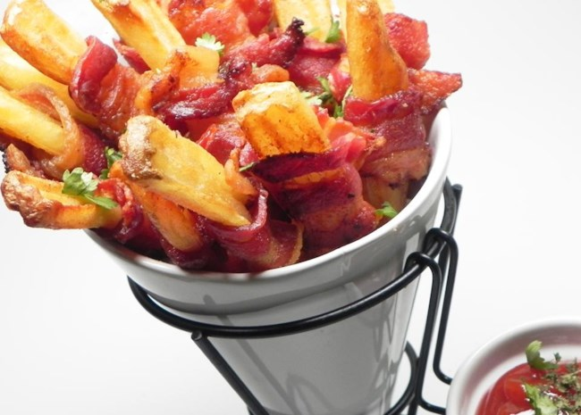 french fries wrapped in bacon