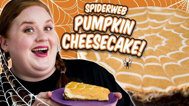 Smart Cookie and her Spiderweb Pumpkin Cheesecake for Allrecipes