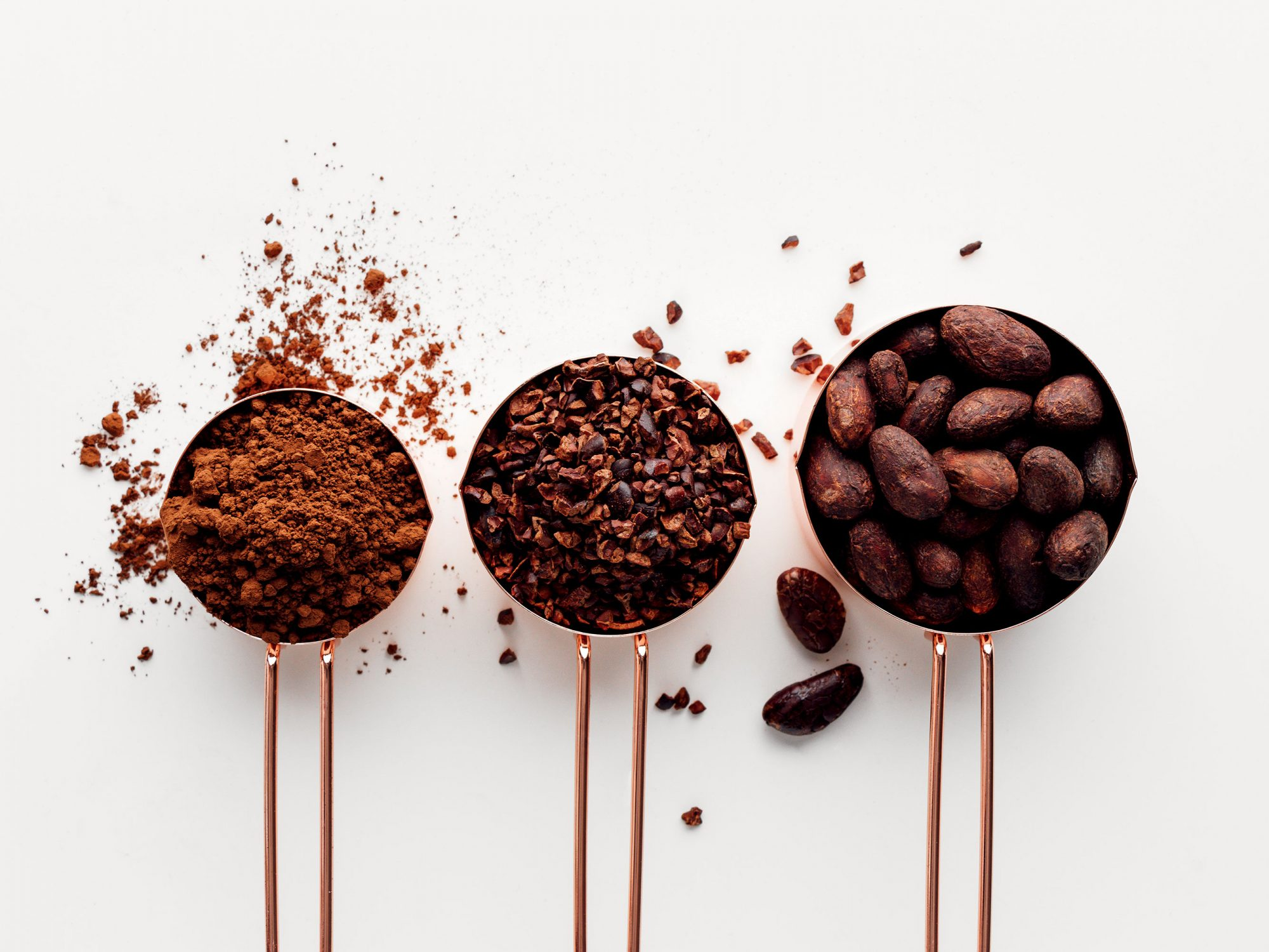 Cocoa beans, nibs, and powder measuring cups