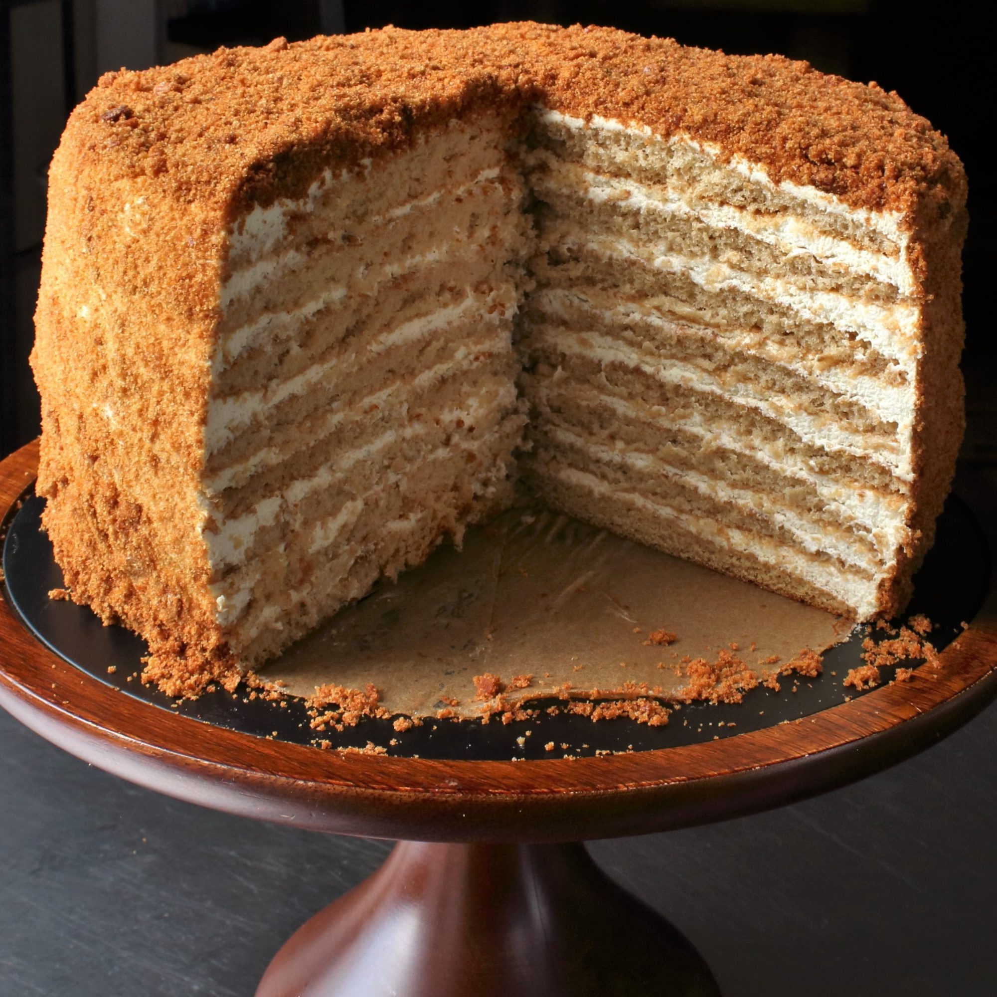 Russian Honey Cake on a wooden cake stand