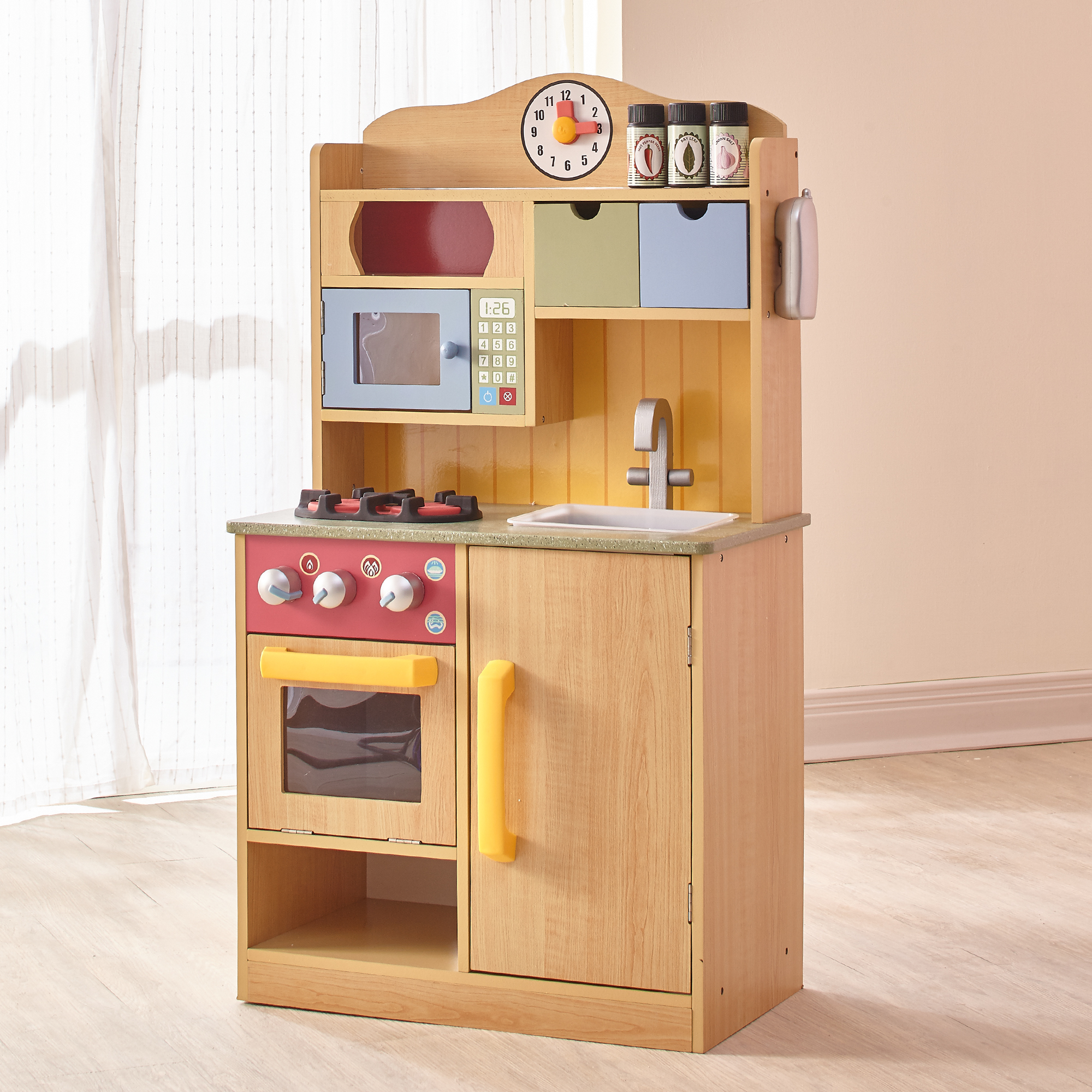 Teamson Kids - Little Chef Florence Classic Play Kitchen - Wood Grain
